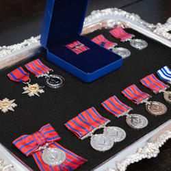 A picture of various medals.