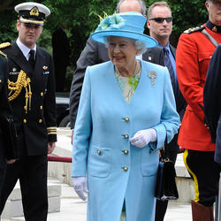Her Majesty Queen Elizabeth II is greeted by the members of public during a tree-planting ceremony at Rideau Hall in 2010.