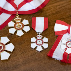 Four insignia of the Order of Canada. The insignia of the Order is a stylized snowflake of six points, with a red annulus at its centre which bears a stylized maple leaf circumscribed with the motto of the Order.