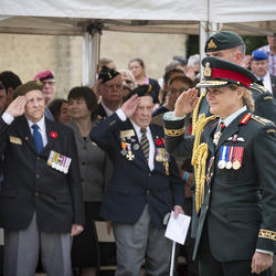 The Governor General salutes a crowd of veterans.