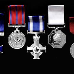 L'Ordre du mérite des corps policiers (officier), la Médaille de la bravoure, la Croix du service méritoire (division militaire), la Médaille polaire et la Médaille du souverain pour les bénévoles sont présentés.