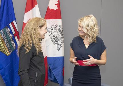 The Governor General talks to Her Worship Tara Veer, Mayor of Red Deer.