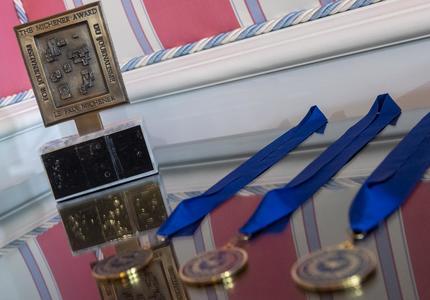 Close-up of medals.
