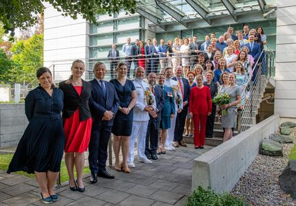 A group photo of the employees of the Embassy of Canada to Poland.