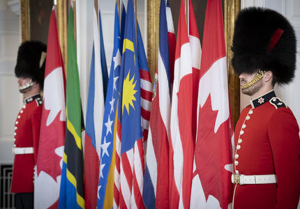 Two Governor General Foot Guards stand beside flags.