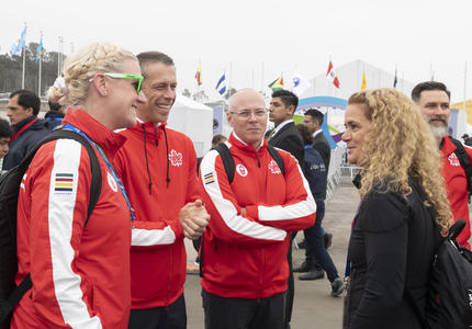 The Governor General met with athlete mentor and former athlete, Annamay Pierse.