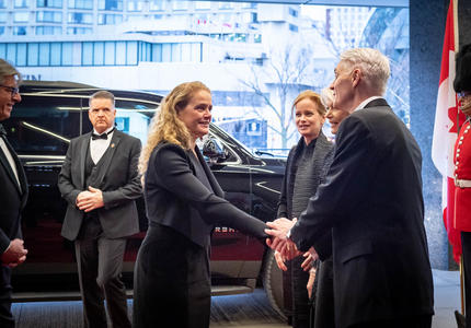 Upon arrival, the Governor General is welcomed to the National Arts Center.