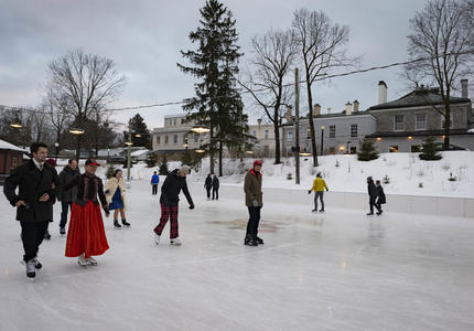 Members of the diplomatic corps skate at the Rideau Hall rink.