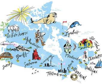 Shows a map of Canada with sketched drawings representing the cities where the Walrus talks will be happening.